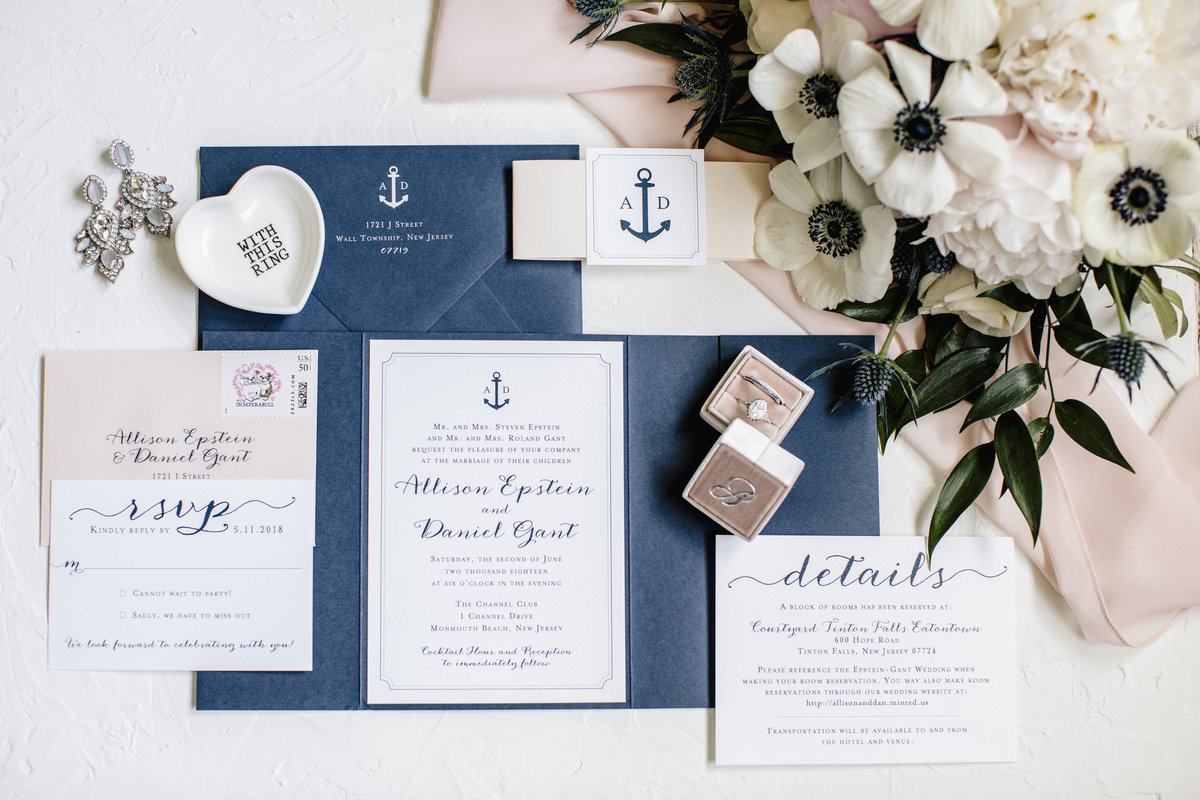 invitation lay flat for channel club wedding