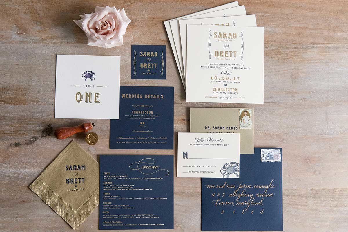 SarahBrett-InvitationSuite-Letterpress-NavyGold-Charleston.Baltimore