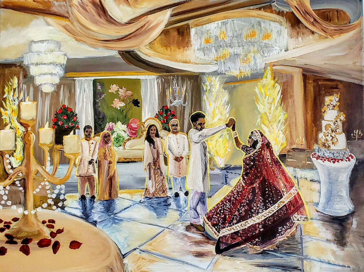 Live painting of an Indian wedding first dance in Long Island New York