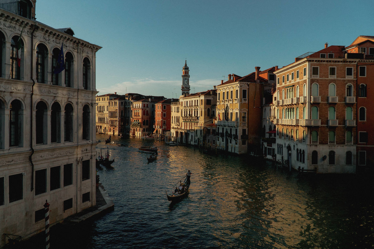 Grand canal venice italy gondola at sunset