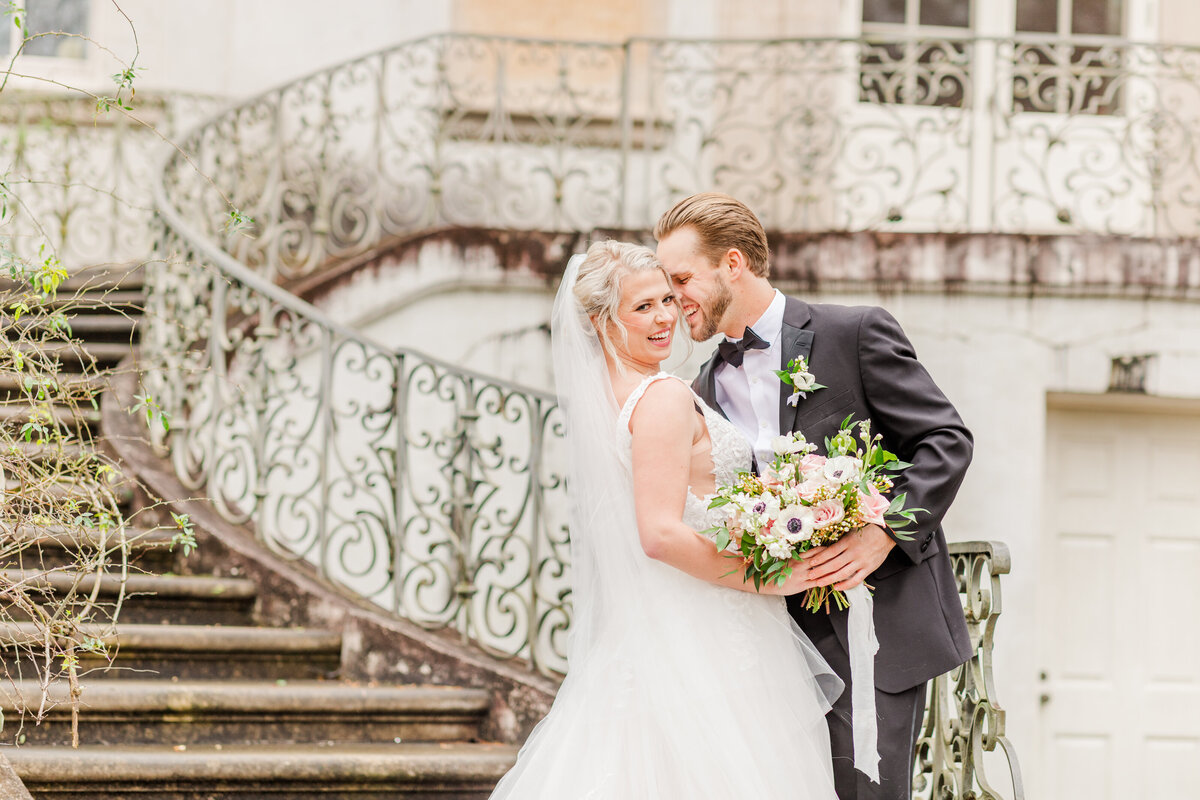 A couple at their wedding at the Swan House in Atlanta Georgia by Jennifer Marie Studios, Georgia light and airy wedding photographer.