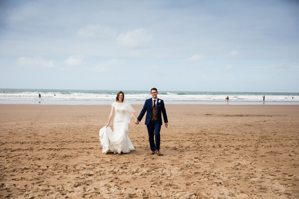 wedding on the beach at pickwell manor wedding