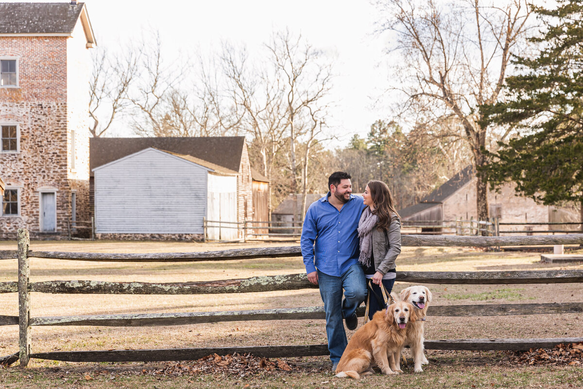engaged couple with dogs historic batsto village hammonton new jersey
