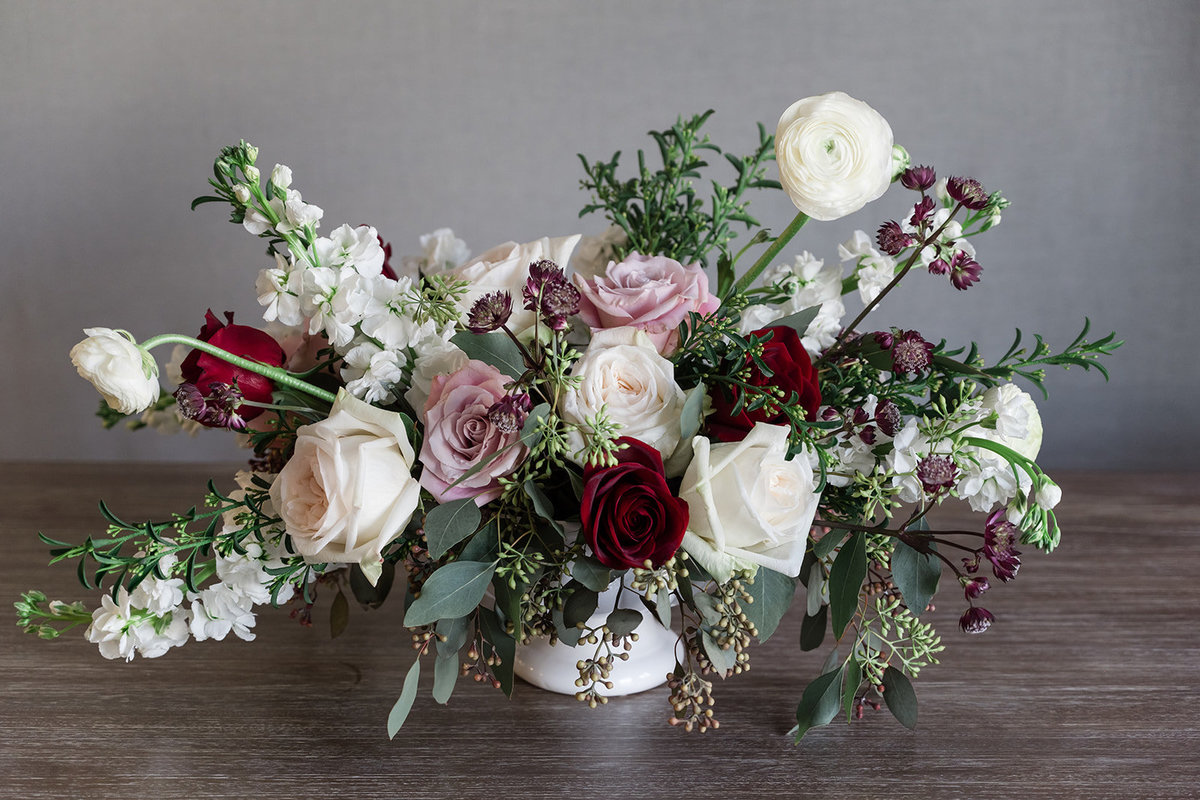 Blush and Burgundy Lg Centerpiece