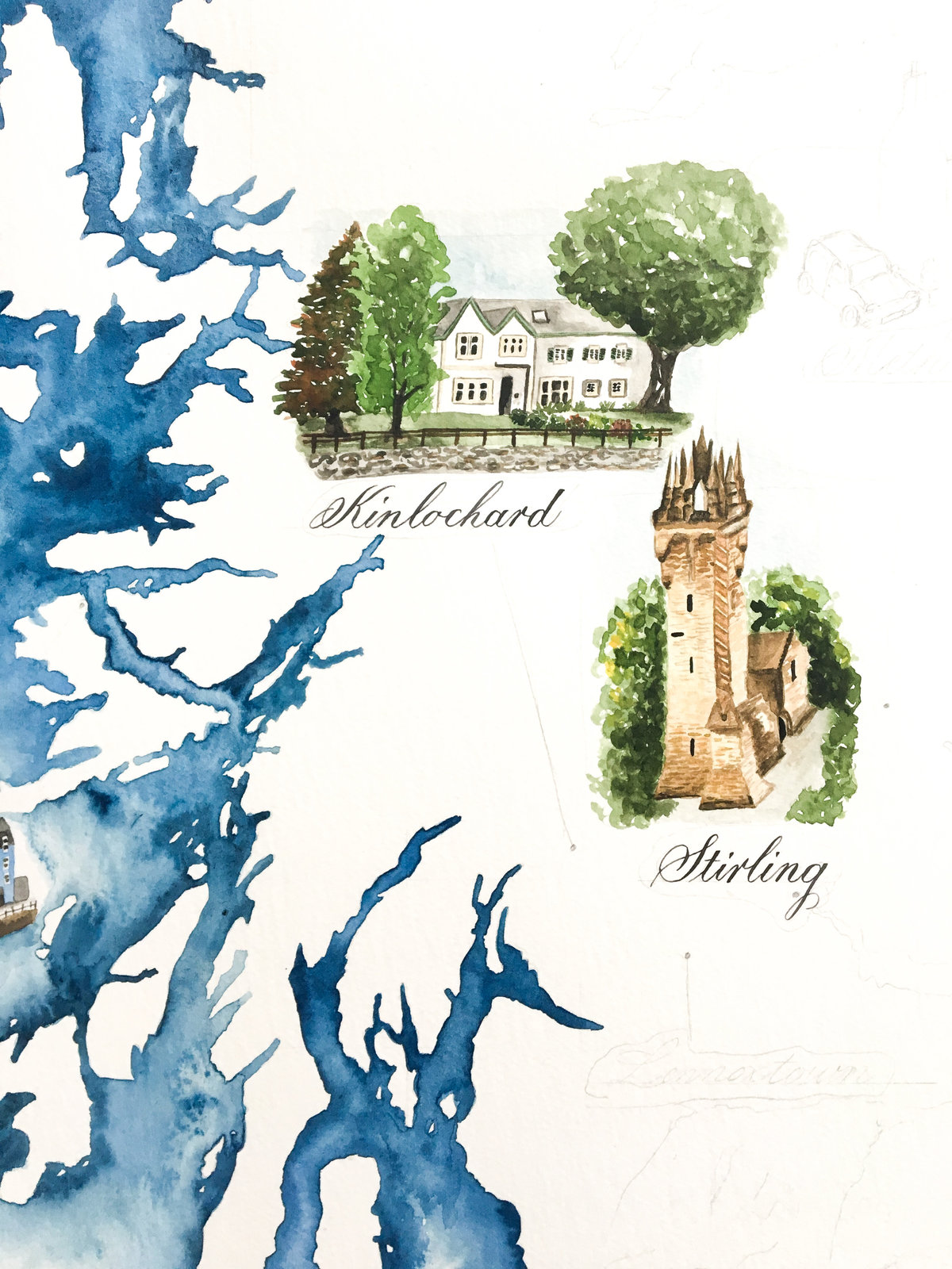Watercolour map with venue paintings | Jenni Liandu Calligraphy