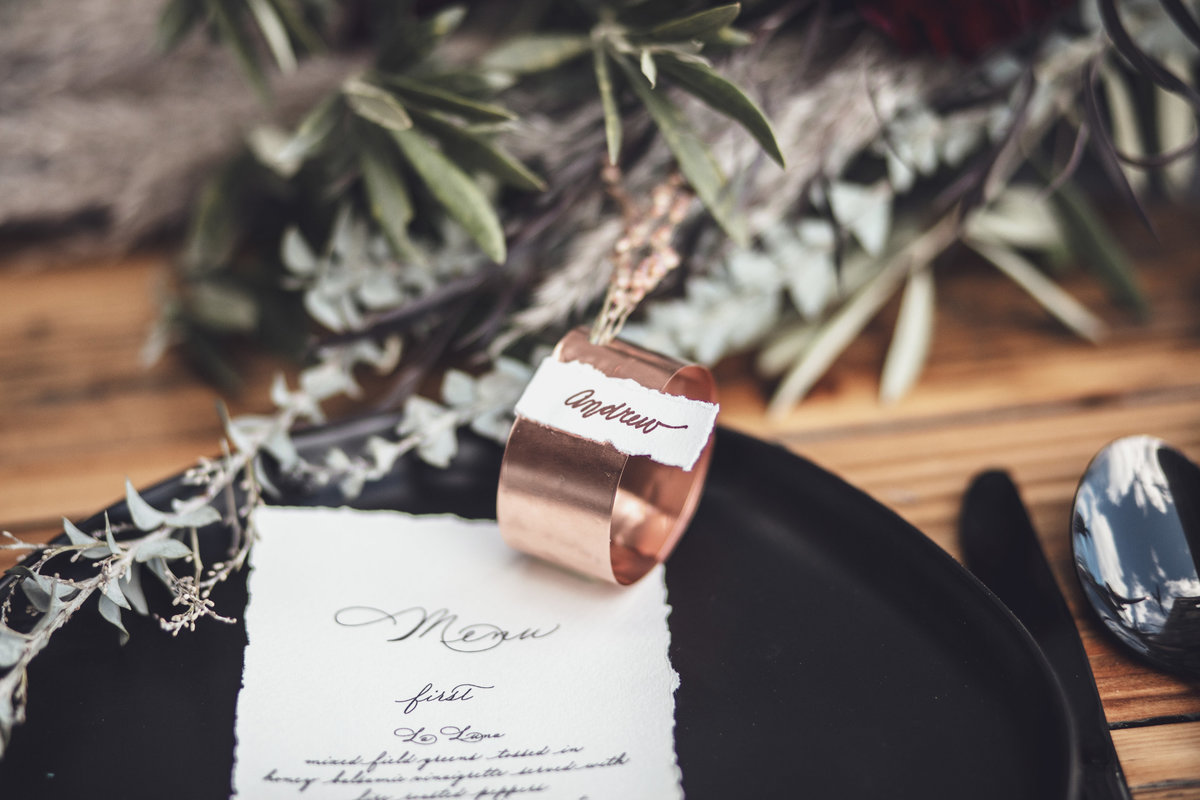 Copper Unique Wedding Placecard - Verve Event Co. Rochester NY