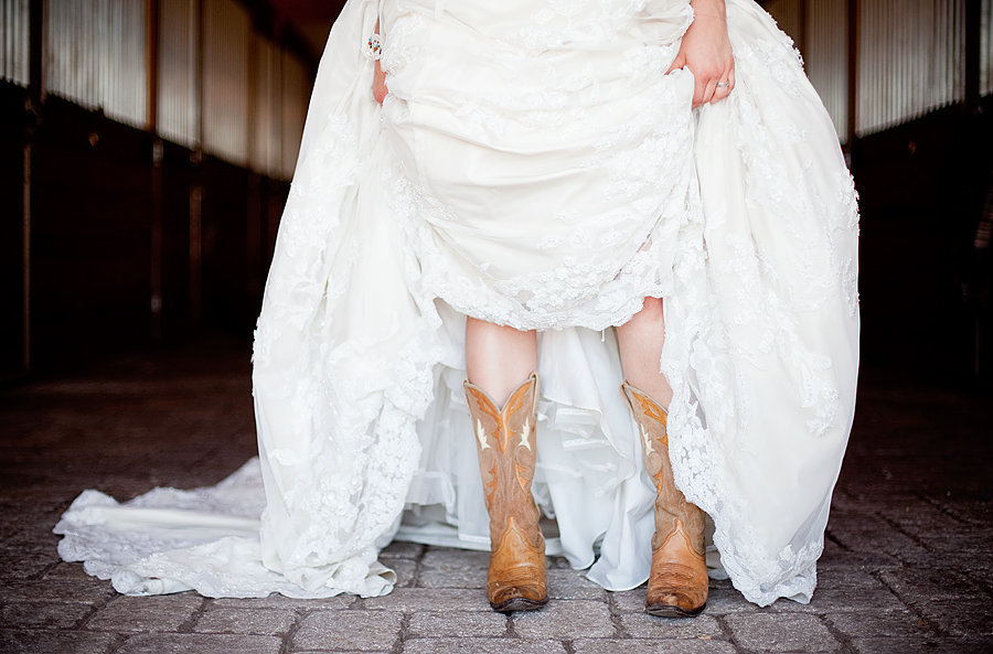 country bride wearing boots