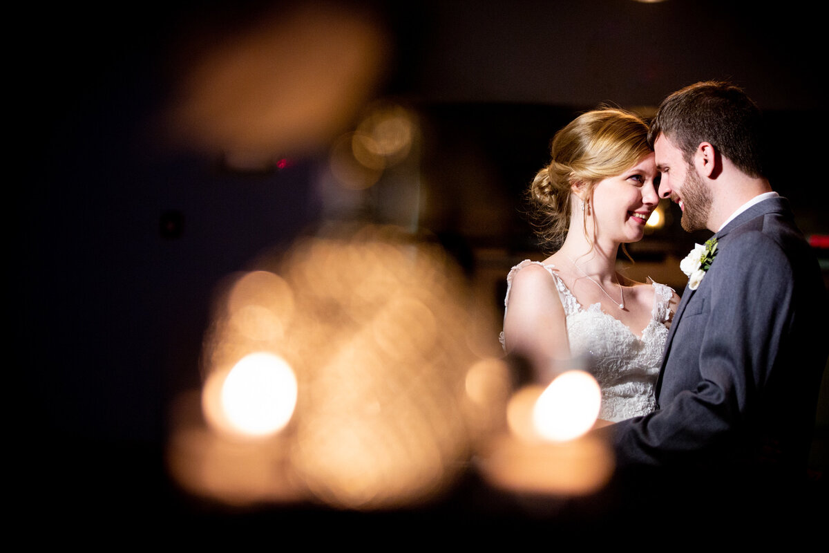 Nighttime bride and groom portraits at The Cotton Room