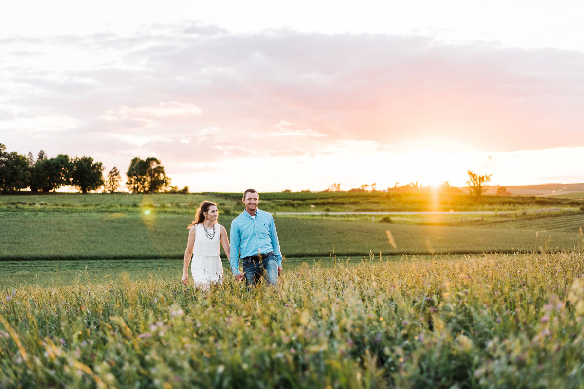 engaged couple walks through iowa alfalfa field