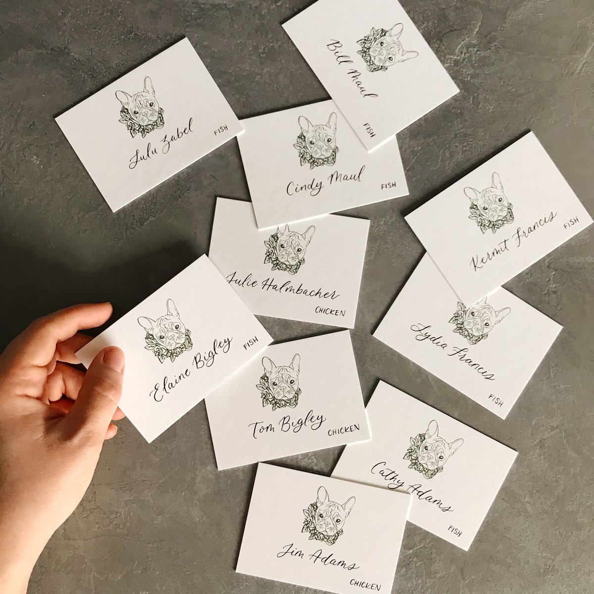 pet illustration place cards wedding