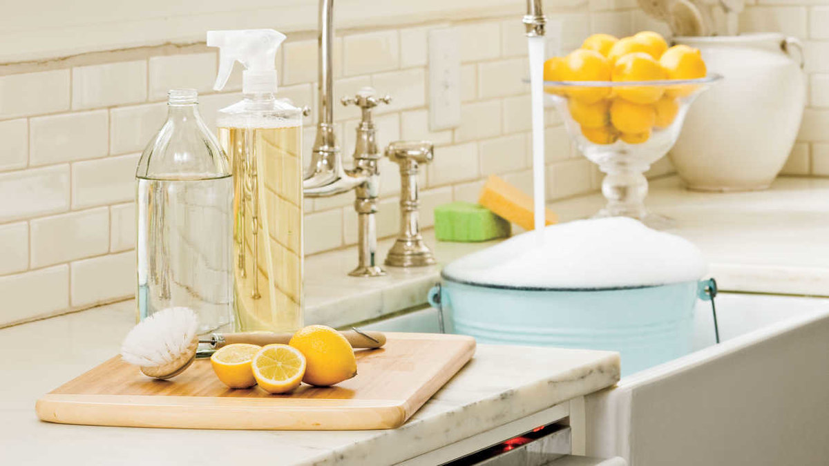 Kitchen counter with holistic cleaning products made from essential oils
