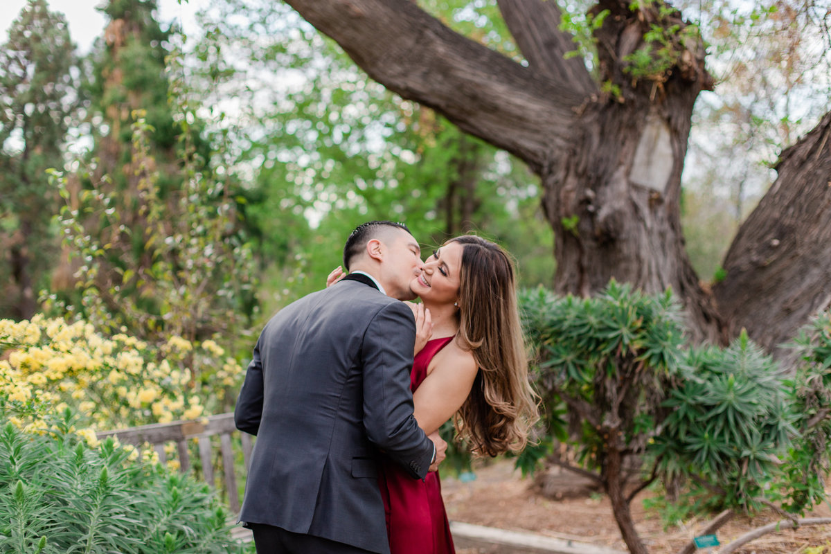 UC Riverside Botanical Gardens, Engagement Photography, Riverside Phototgrapher, Garden Engagement, Couple Photography, Red Dress-50
