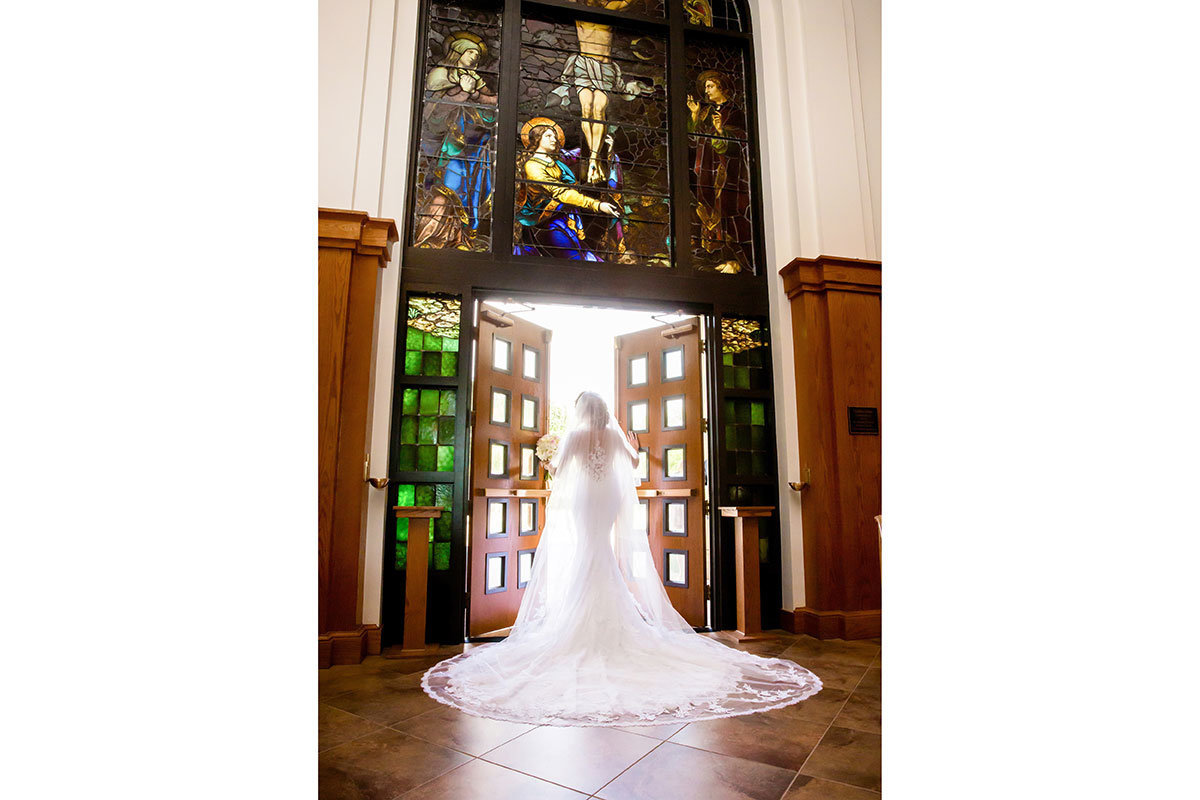 st william catholic church wedding stained glass photo