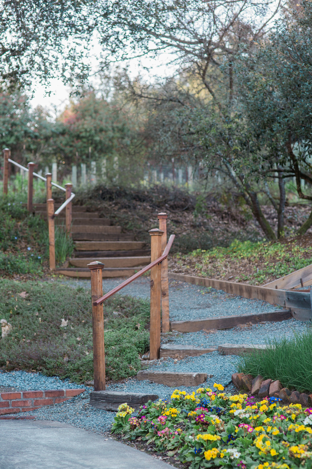 The stairs on the property at Madrona Manor in Healdsburg California