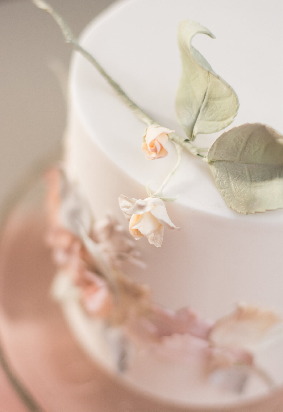 Up close detail shot of handmade flowers on cake