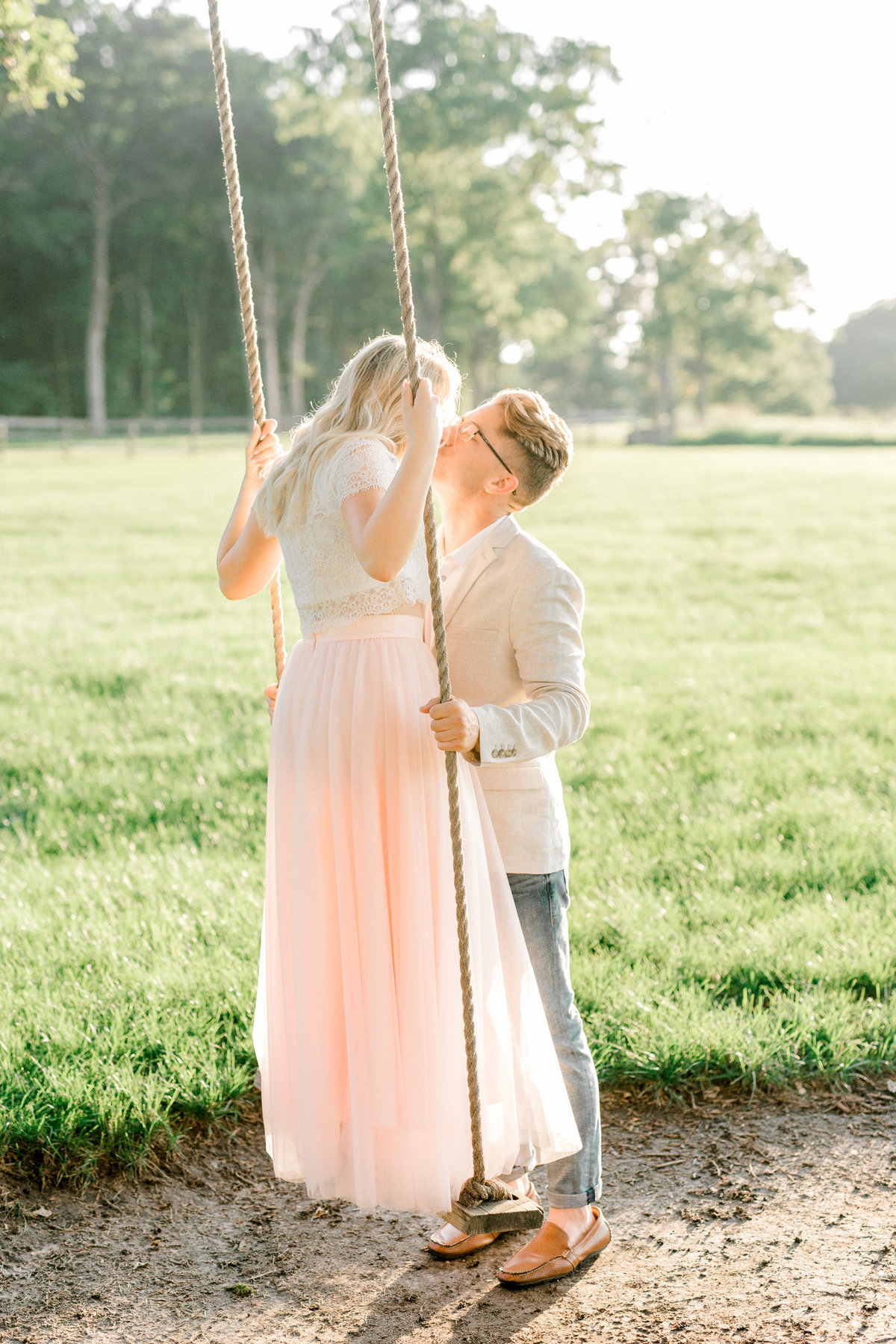 Mayowood Stone Barn Wedding  Photographer Engagement Session on Swing