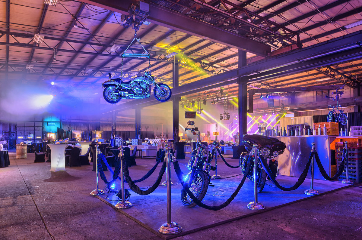 motorcycle gala with lighting and decor in rockford illinois
