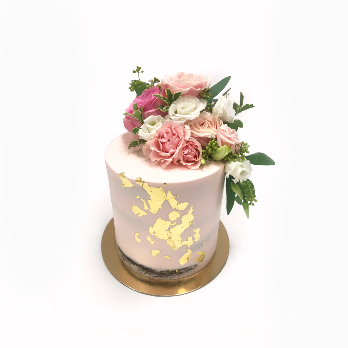 Whippt desserts - barely blush semi-naked cake with gold foil Feb 2019