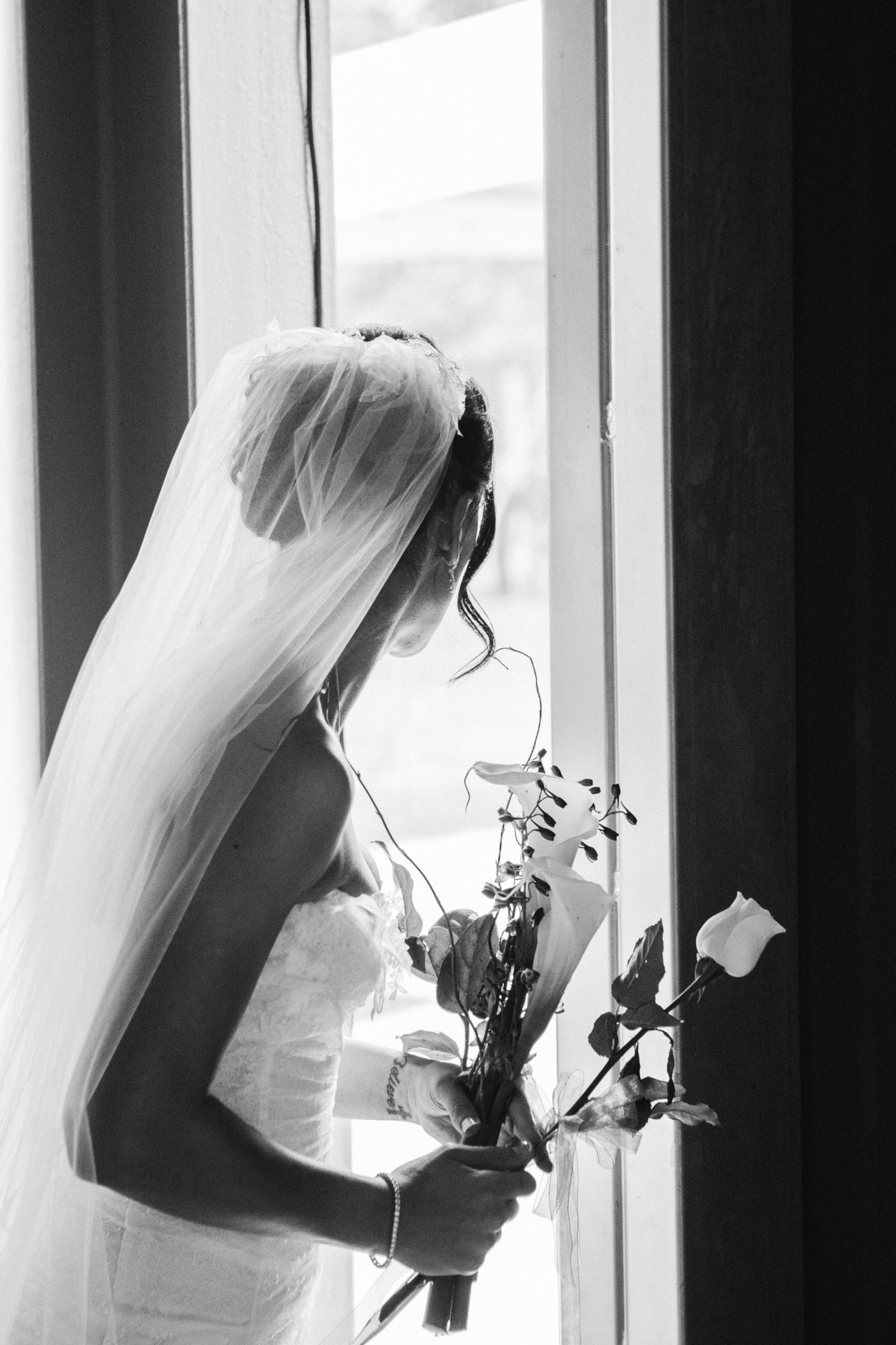 Bride looking outdoors