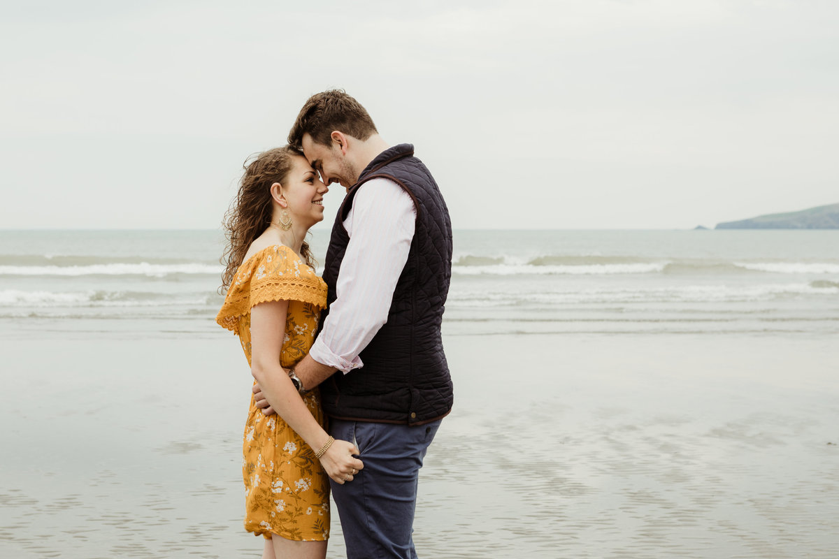 engaged on poppit sands, close up portraits, love