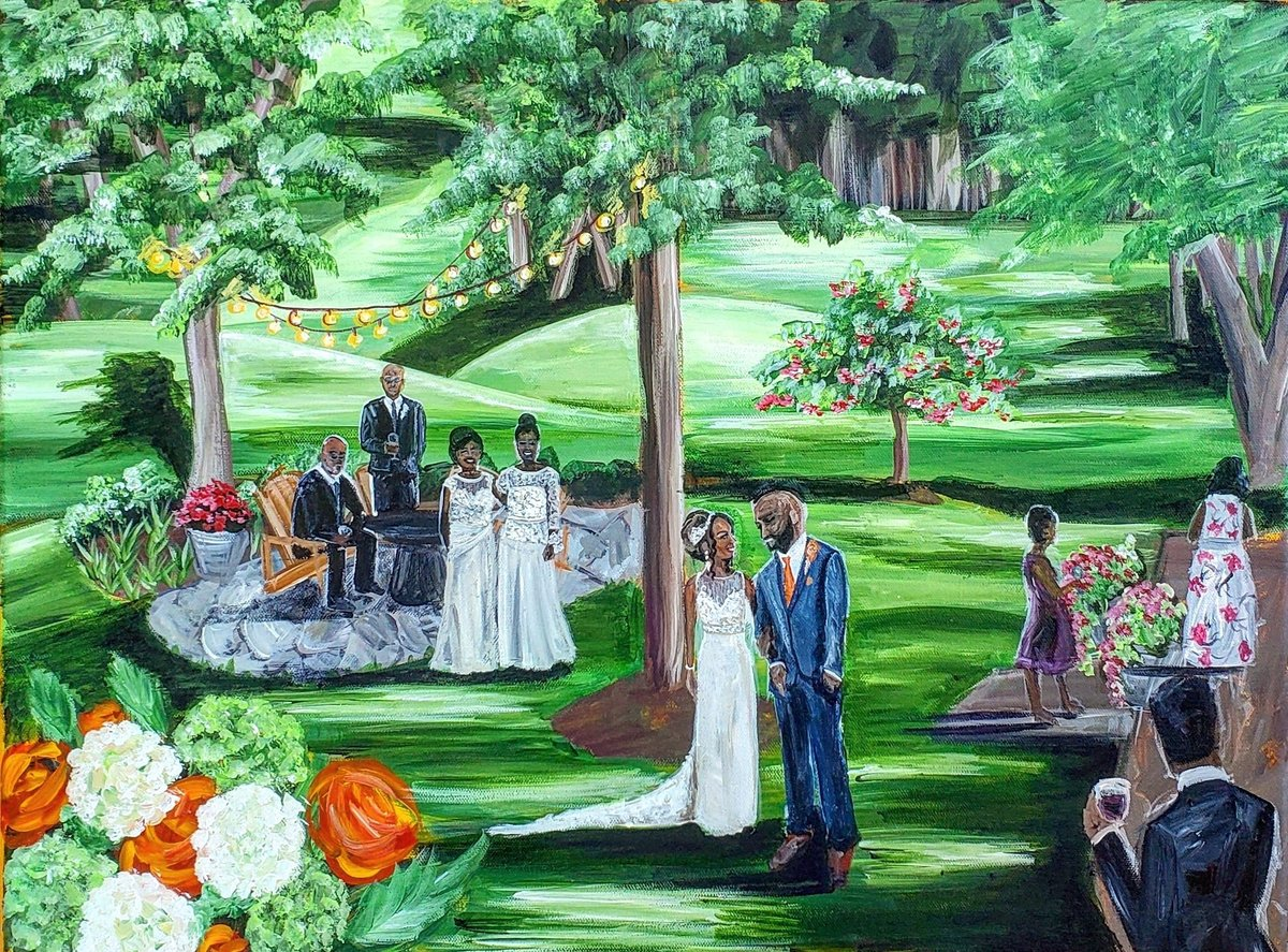 Live wedding painting of a bride and groom at cocktail hour at Chartwell Golf and Country Club in Maryland