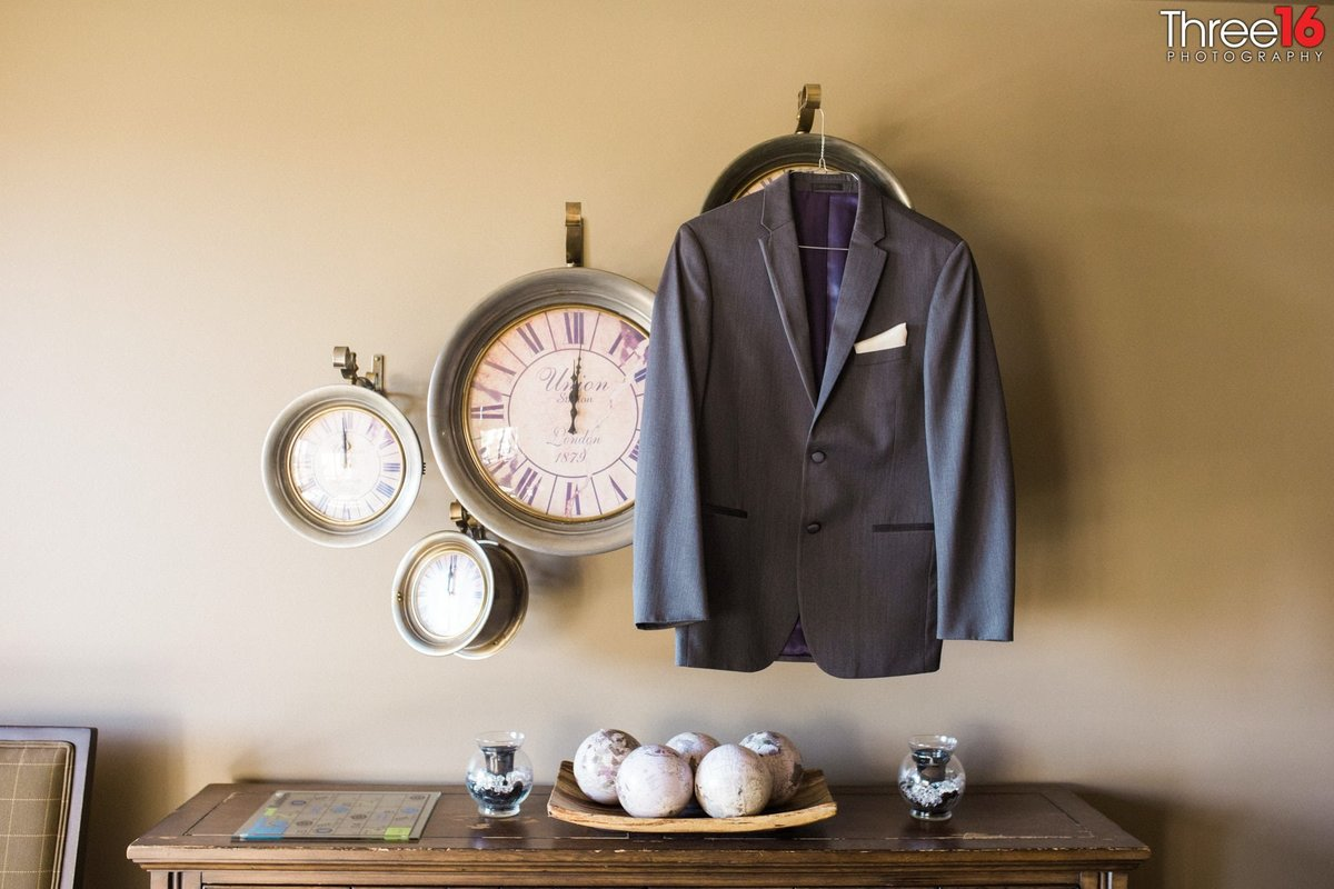 Groom's jacket prior to the wedding