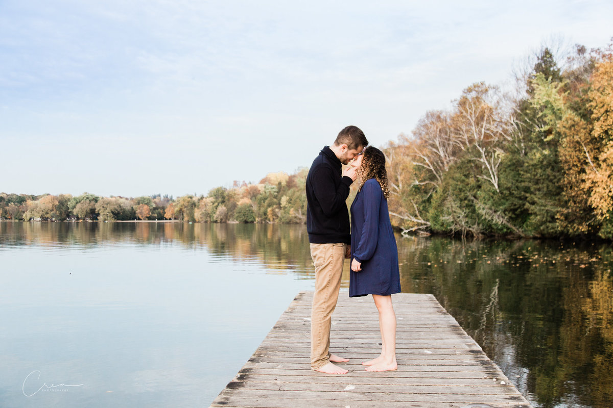 bass lake engagement at the lake photo