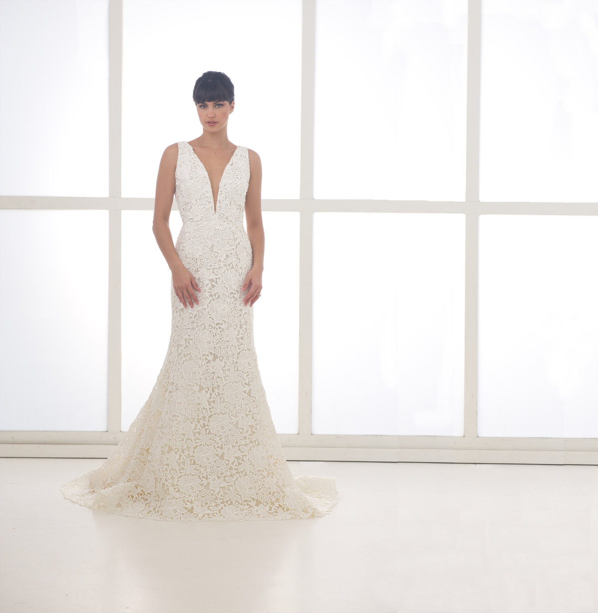 Liancarlo Fitted Deep V Embellished Wedding Dress