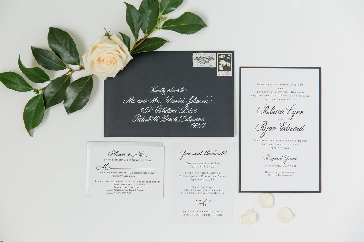 Modern gray wedding invitations with custom calligraphy
