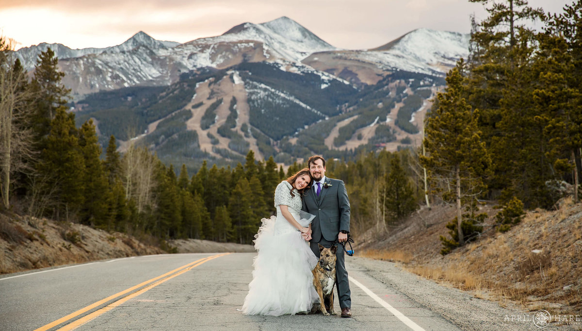 Breckenridge Colorado Wedding Photographer with Ski Slope Backdrop