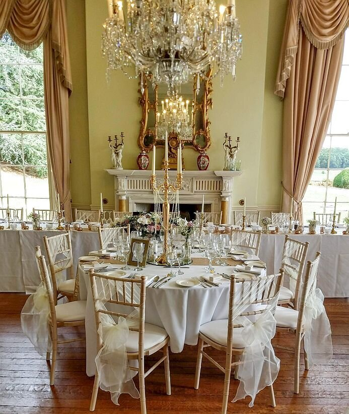Gold candelabra sequin pearl wedding 1