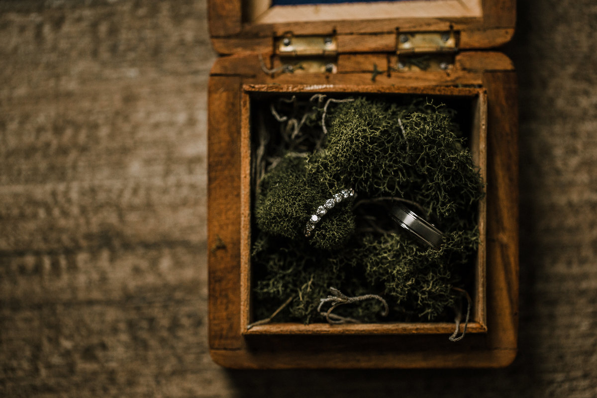 Wedding rings in decorative wooden box