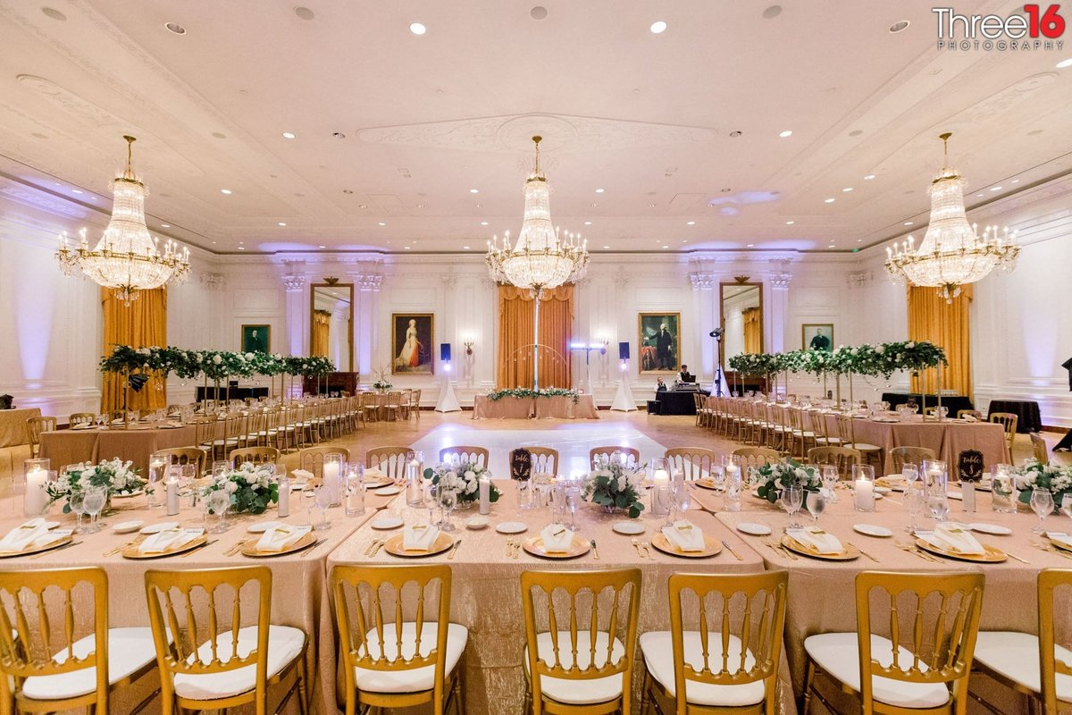 Richard Nixon Library room is setup for an elaborate wedding reception