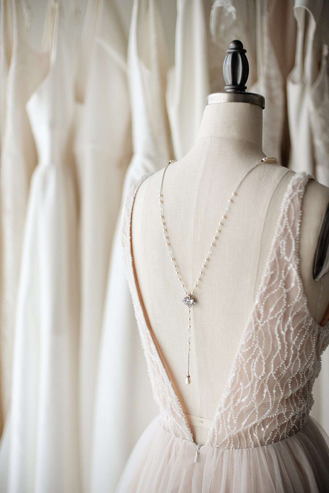 Natasha wedding backnecklace in crystal and pearl