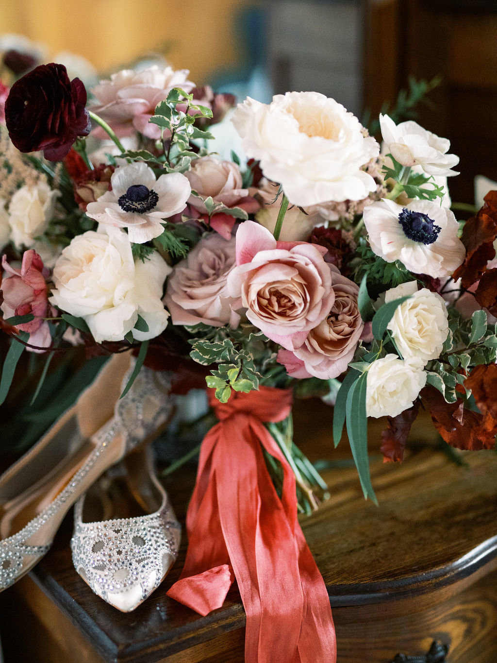 Fall bridal bouquet cream pink rust florist Delaware
