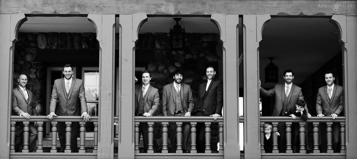B&W Groomsmen Photography at Highlands Ranch Mansion in Colorado