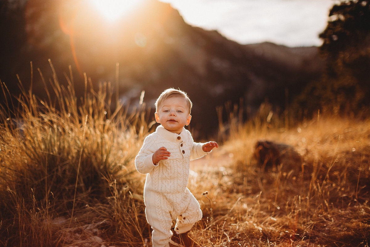 Toddler plays in field in Boulder, Colorado at sunset