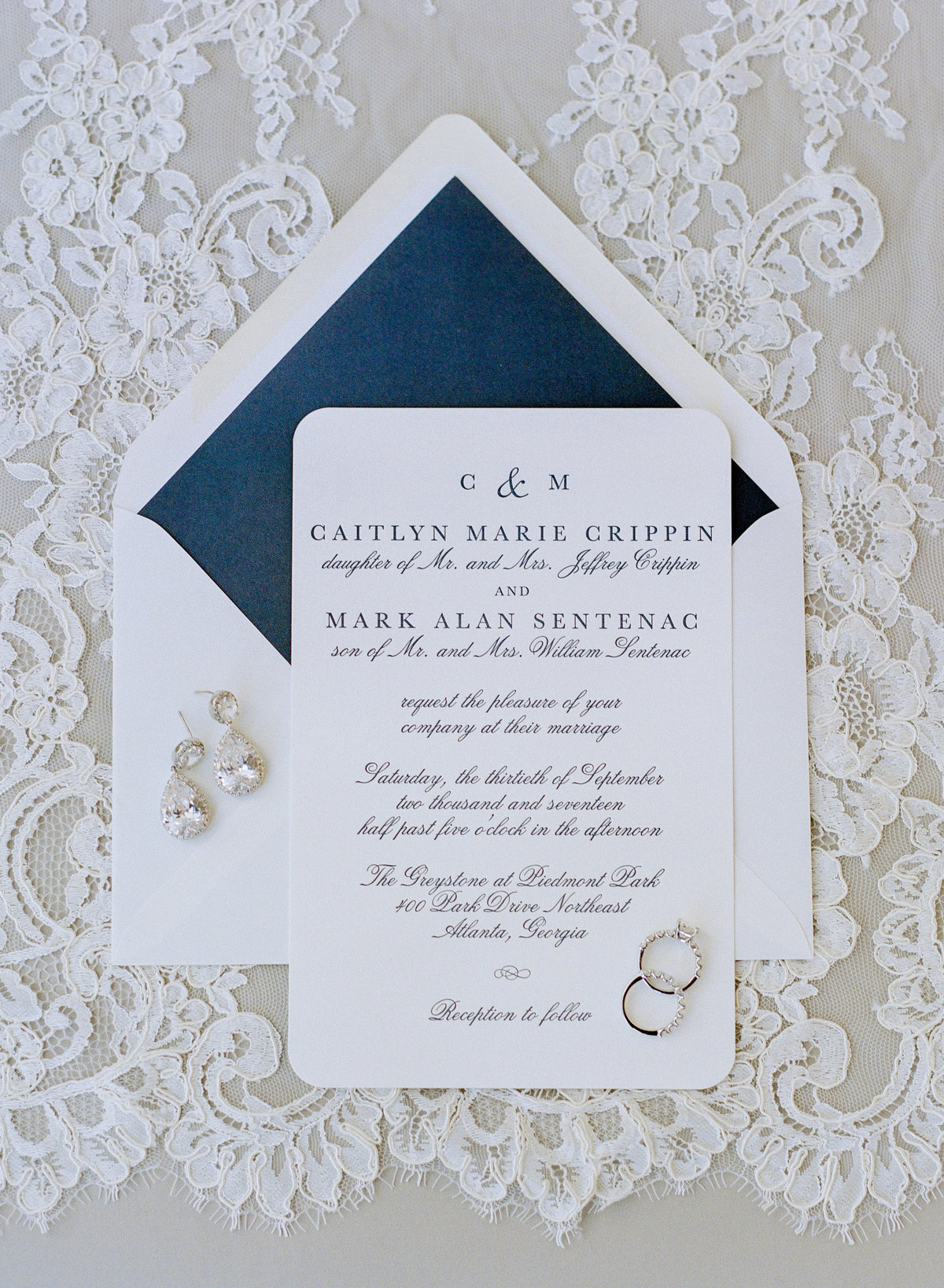 Blue and White Wedding Invitation Atalanta