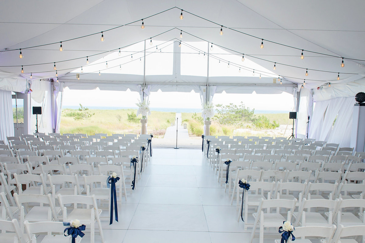 Indoor wedding ceremony at Oceanbleu