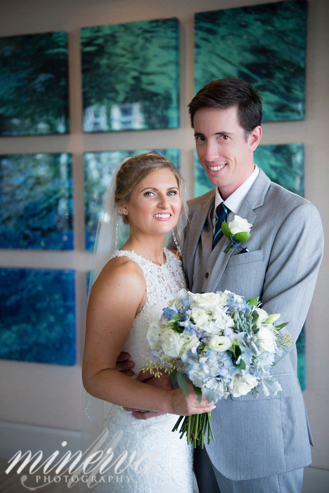 Sara and max wedding blue hydrangeas