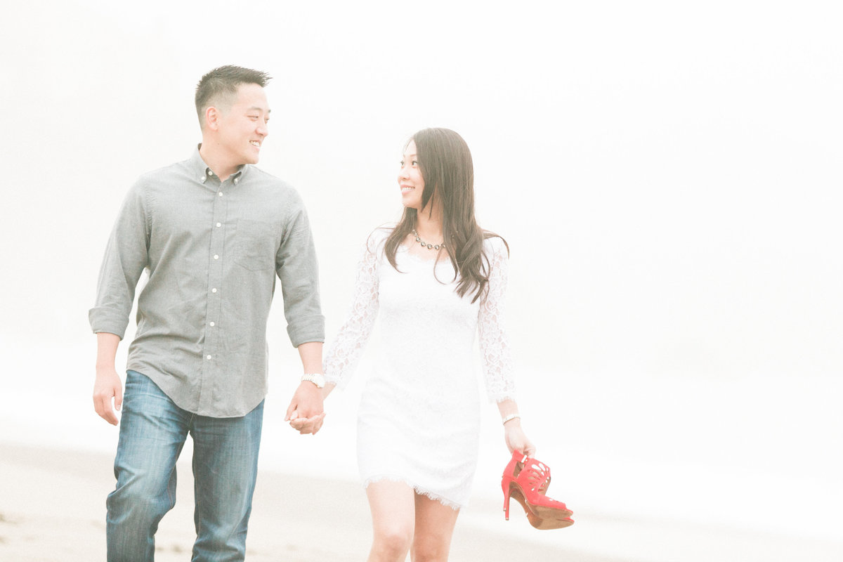 Dreamy Foggy SF Beach Engagement Photos