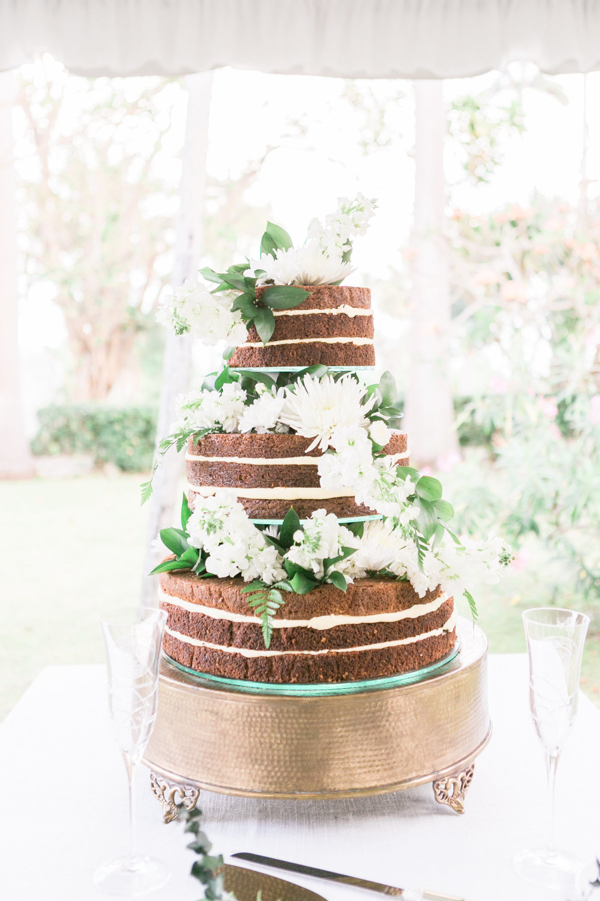 Naked carrot wedding cake at destination wedding Barbados