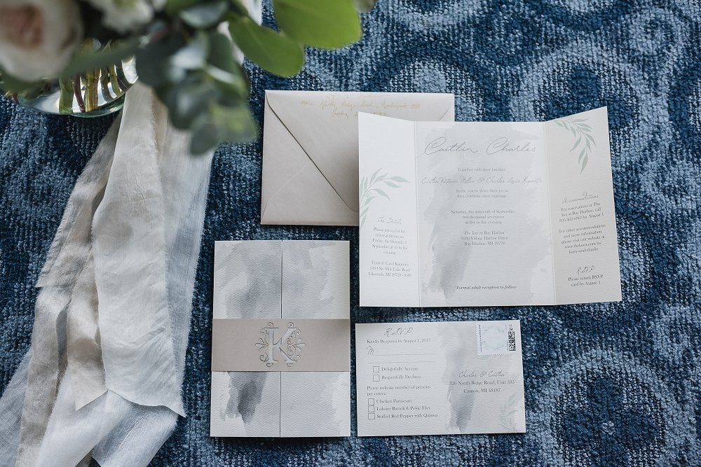 Wedding Stationery Lake Michigan Wedding