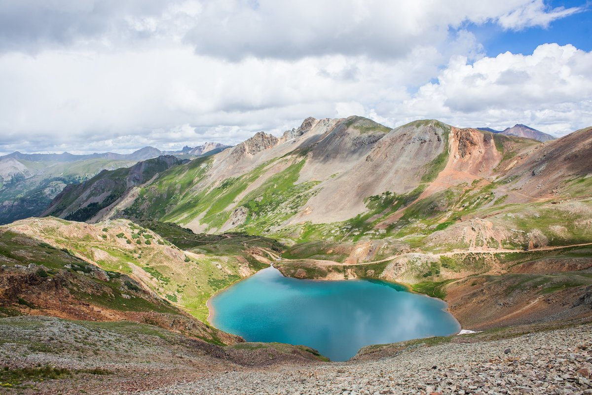 Crystal blue lake in the Colorado San Juan Mountains