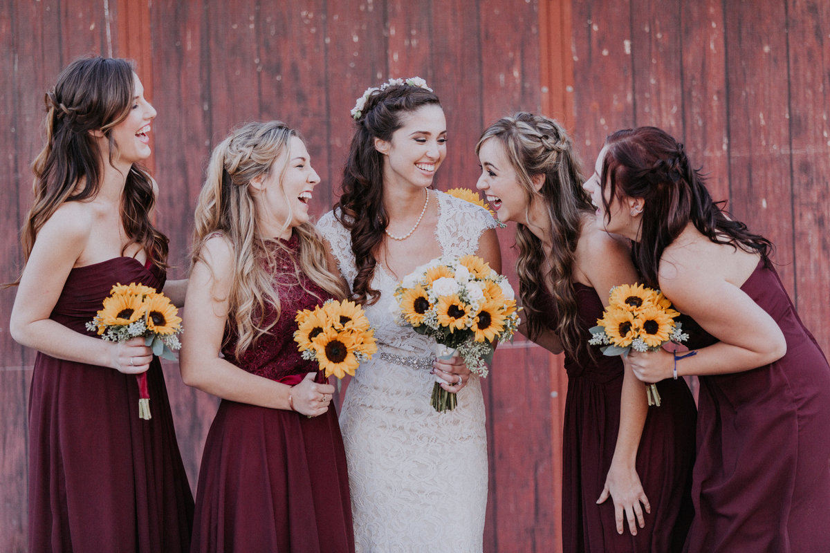 Lake Tahoe elopement pictures bride laughs with her bridesmaids