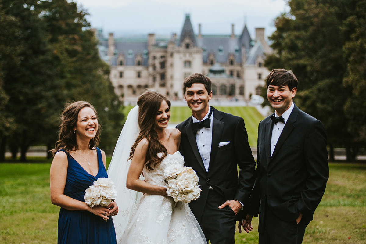 wedding party in front of the Biltmore in Asheville North Carolina