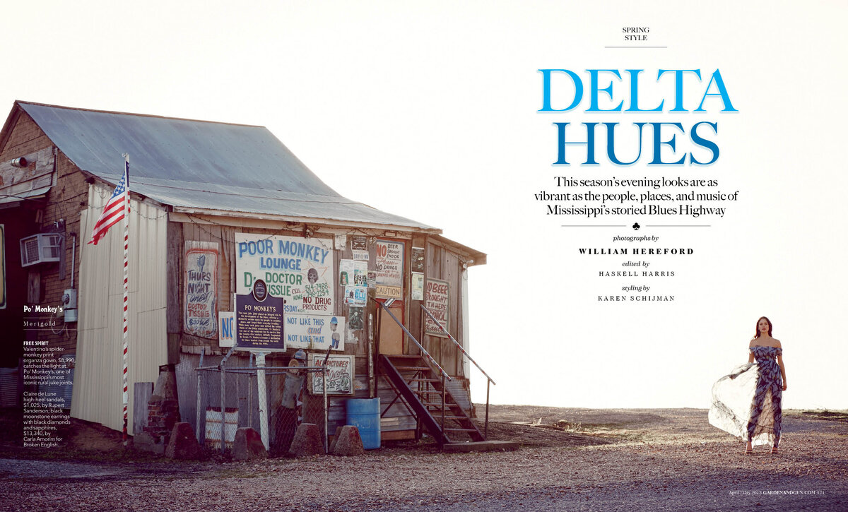 Delta hues cover image for Garden and Gun Magazine Poor Monkey Lounge