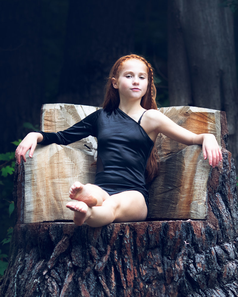 ballet session with girl in forest