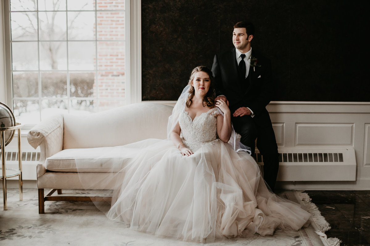 Portrait of the bride and groom on their wedding day at The Avalon Inn in Warren, Ohio