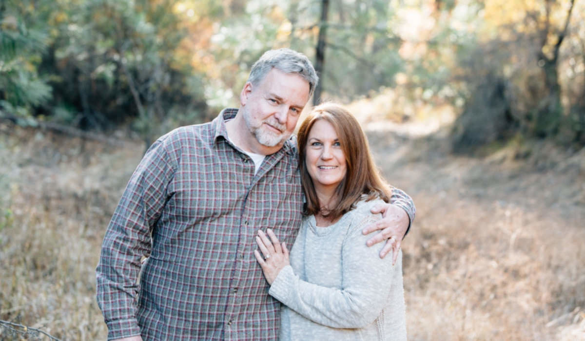 Christian Tahoe wedding planner Donna Nice Hoekstra with husband Nick smiling near wedding venue Miners Foundry Cultural Center​ Nevada City, ​Joy of Life Events image by Myrtle & Marjoram Photography
